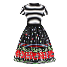 Load image into Gallery viewer, Christmas Print Striped Vintage Dress