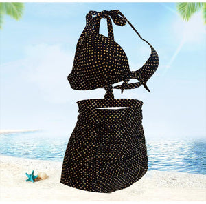 High Waisted Halter Polka Dot  Women Retro Plus Size Bikini Swimwear Bathing Suit