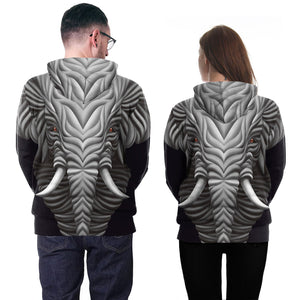 3D Mammoth Print Hooded Sweatshirt