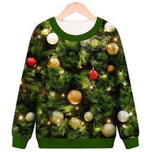 Load image into Gallery viewer, Christmas Tree Lights Printed Round Neck Pullover Sweatshirt