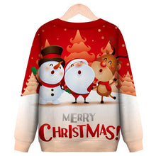 Load image into Gallery viewer, Christmas Cartoon Santa Printed Round Neck Casual Pullover Sweatshirt