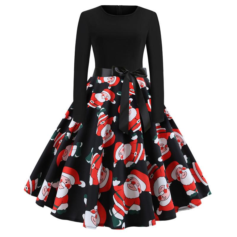 Santa Claus Print Long Sleeve Vintage Midi Christmas Dress