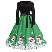 Load image into Gallery viewer, Christmas Santa Claus Print Long Sleeve Flare Vintage Dress