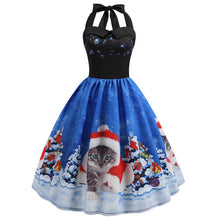 Load image into Gallery viewer, Christmas Print Sleeveless Flare Vintage Dress
