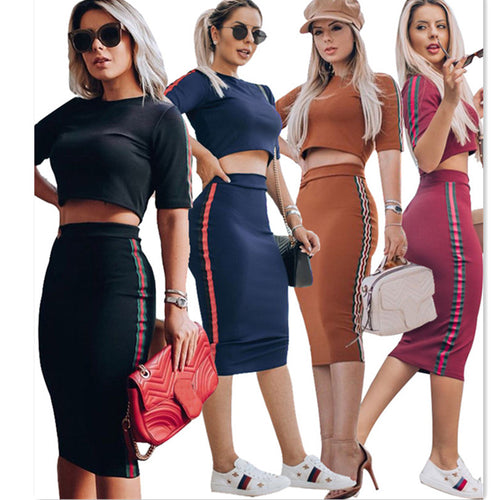 Sexy Two-piece T-shirt + Bodycon Skirt Casual Suit