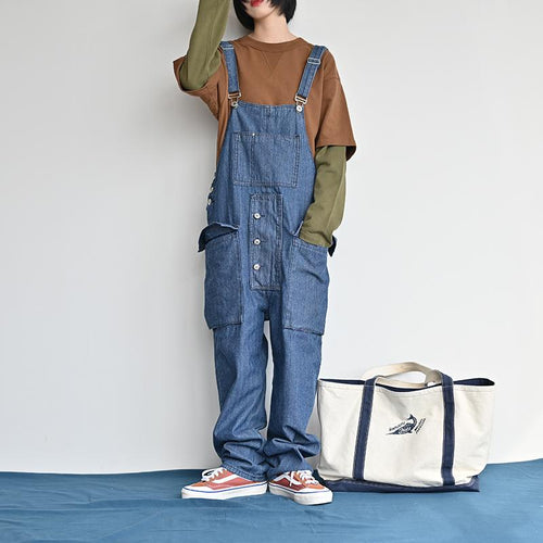 Women Retro Loose One Piece Denim Bib Overalls Ripped Jeans Pocket Jumpsuit Coverall Romper