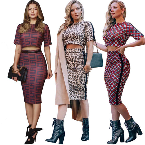 Sexy Two-piece Exposed Navel Skinny Bodycon Dress Print Casual Suit