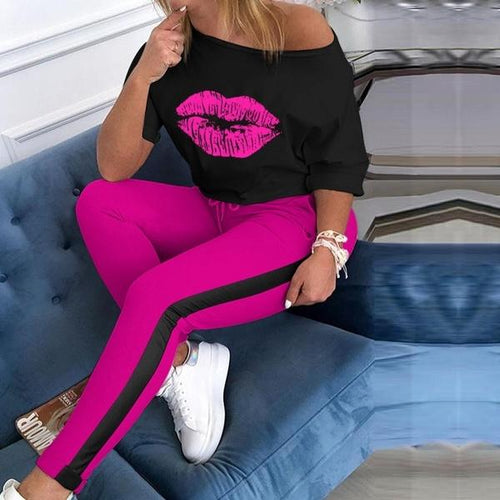 Pink Lips Printed Women Casual Short Sleeve T-Shirt + Pants Two Piece Set Outfit