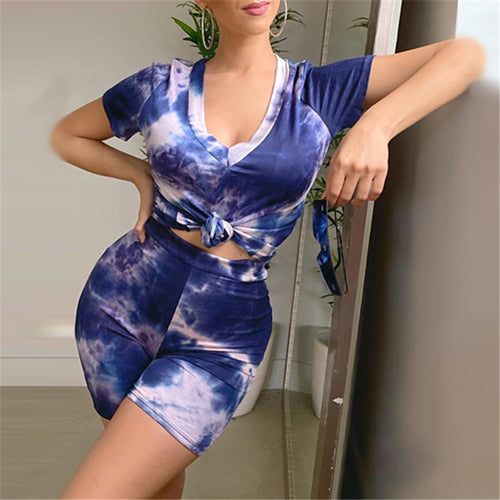 Women's Plus Size Two-piece Tie-dye V-neck T-shirt + Shorts Sexy Skirt Suit