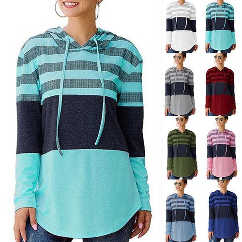 Women Sweatshirts and Hoodies Long Sleeve Drawstring Sweatshirts Color Block Striped Pullover Top