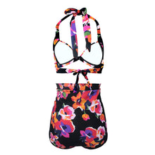 Load image into Gallery viewer, High Waisted Halter Floral Women Retro Plus Size Bikini Swimwear Bathing Suit