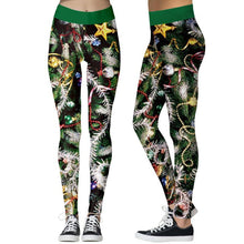 Load image into Gallery viewer, Christmas Print Stretch Tights Casual Sweatpants Leggings