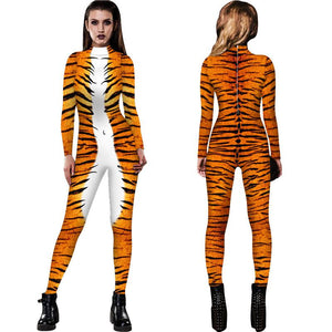 3D Funny Tiger Pattern Print Tight Stretch Women Long Sleeve Jumpsuit Pants Pajamas Onesies