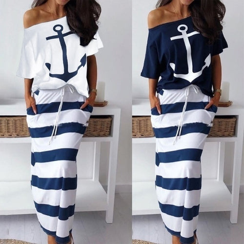 Women's Two Piece Casual Anchor Print Short Sleeve T-Shirt + Skirt Set