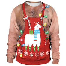 Load image into Gallery viewer, Xmas Alpaca Print Ugly Christmas Long Sleeve Sweatshirt