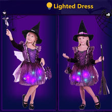 Load image into Gallery viewer, Halloween Costume Children's Costumes Cosplay Girls with Lights Witch Skirt Witch Costumes
