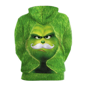The Grinch Hoodie Christmas Green Monster Print Unisex Long Sleeve Hoodie