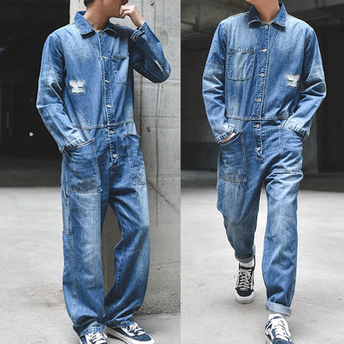 Men's Casual Retro Loose Jacket One Piece Denim Jumpsuits Ripped Jeans Overall Coverall Workwear Pants