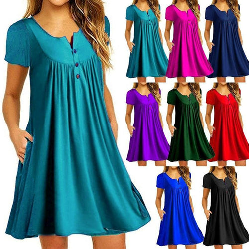 Women Summer Tunic Tops Casual Pleated Pocket Short Sleeve Mini T-shirt Dress