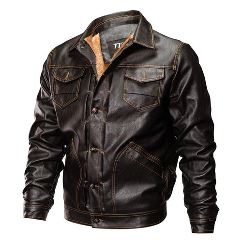 Mens PU Leather Jacket Causal Biker Coat Motorcycle Jackets
