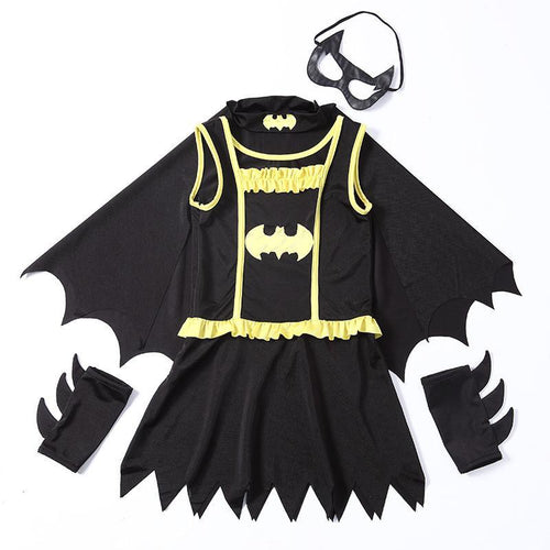 Girls Halloween Batman & Cloak Kids Cosplay Costume