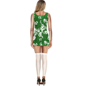 3D St. Patrick's Day Funny Shamrock Bodycon Stretch Women Jumpsuits Leggings Cosplay Costume Pajamas Onesie