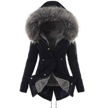 Load image into Gallery viewer, Women Slim-fit Warm Solid Color Split Hooded Zipper Winter Coats Jacket Outerwear Overcoat