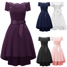 Load image into Gallery viewer, Womens Off Shoulder Homecoming Sexy High Low Rockabilly Ball Party Dress Lace Neckline