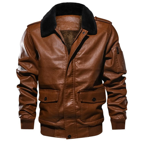 Mens PU Leather Jacket Causal Biker Zipper Coat Motorcycle Jackets