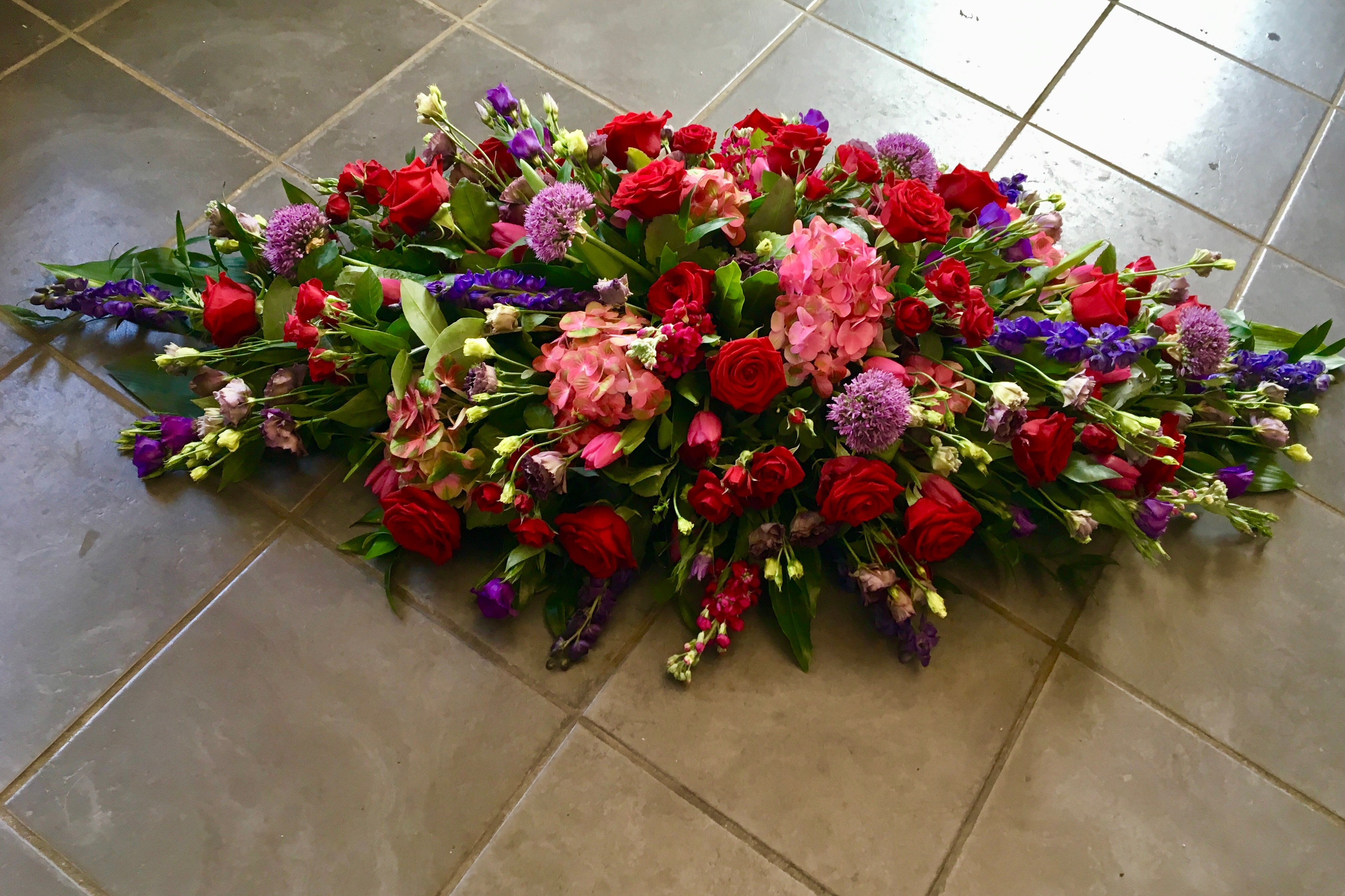 Red, Cerise and Pink Coffin Spray