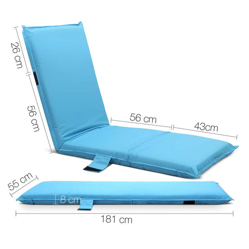 Adjustable Beach Sun Pool Lounger - Blue | FREE DELIVERY