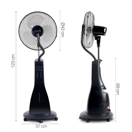 Devanti™ Portable Misting Fan with Remote Control - Black | FREE DELIVERY