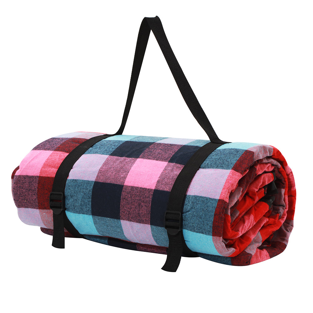 2m x 2m Picnic Blanket with Carry Bag - Miami Plaid | FREE DELIVERY
