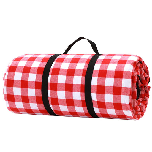 3 x 3m Picnic Blanket with Carry Bag - Red & White | FREE DELIVERY