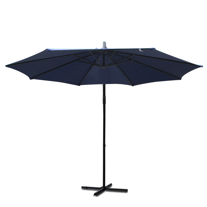 Instahut™ 3M Cantilevered Outdoor Umbrella - Navy | FREE DELIVERY