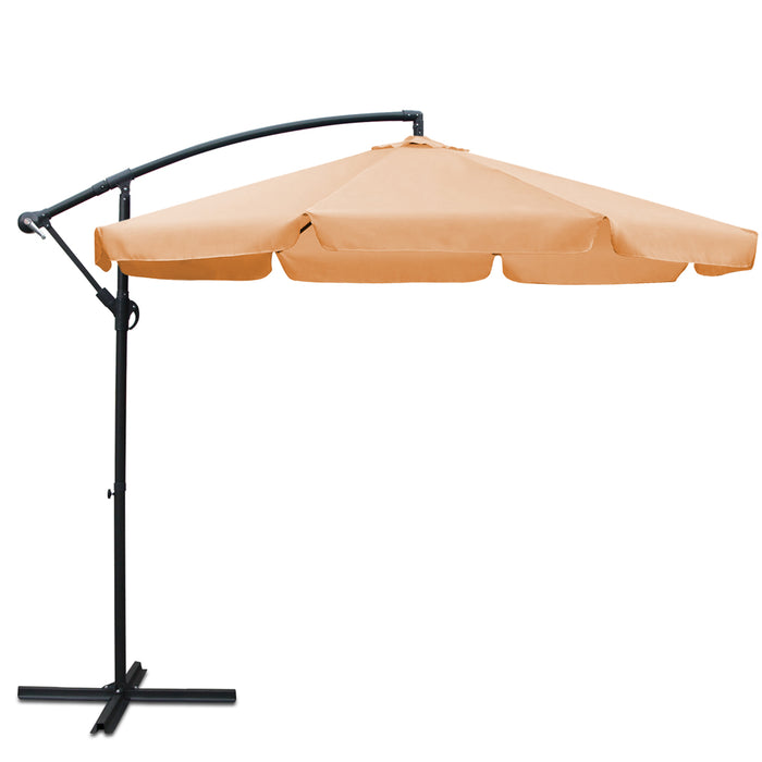 Instahut™ 3M Cantilevered Outdoor Umbrella [with side flaps] - Beige | FREE DELIVERY