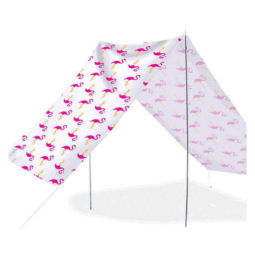 Quick-Assembly Summer Beach Tent [148 x 370cm]  - Flamingo Design | FREE DELIVERY