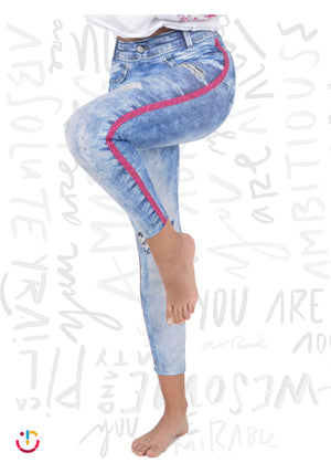 Leggings Efecto Jeans Rosa / Pink Jeans Leggings