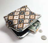 Kisslock Medium Clutch/Makeup Bag - Black and White Diamonds