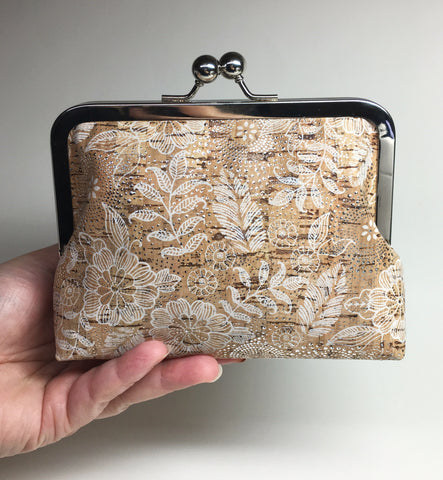 Kisslock Medium Clutch/Makeup Bag - Silver Floral Cork