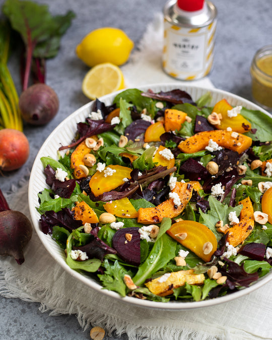 VEGAN RECIPE: Beet & Butternut Squash Salad with Pantry EVOO dressing