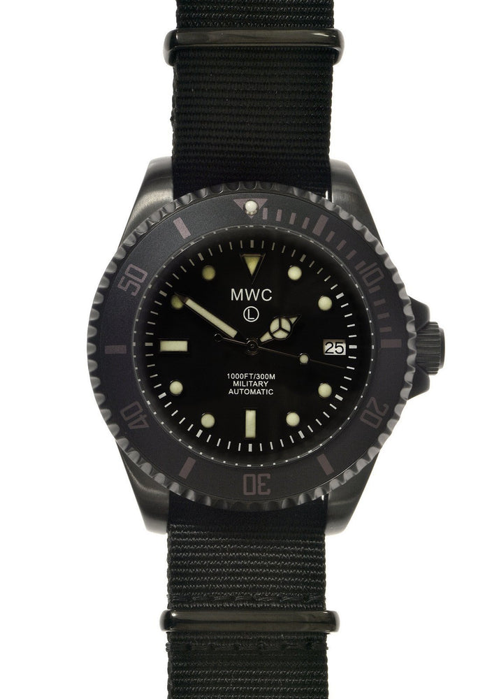 MWC 24 Jewel 300m Automatic Military Divers Watch in Black PVD Steel Ex Display Watch from a Trade Show