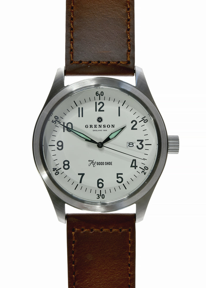 Grenson 46mm Large Format Aviators Watch 100m Water Resistant with See Though Caseback