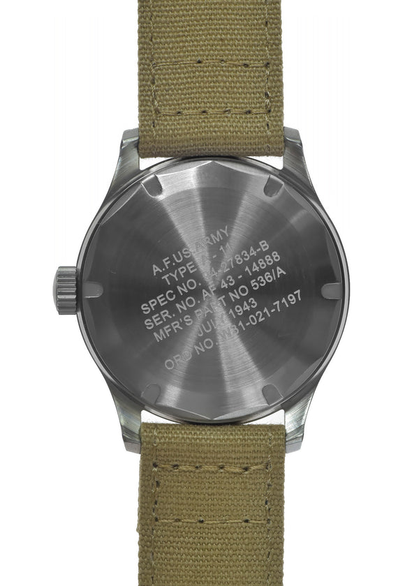 A-11 1940s WWII Pattern Military Watch (Quartz) with 100m Water Resistance
