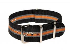 18mm Black, Grey and Tangerine NATO Military Watch Strap