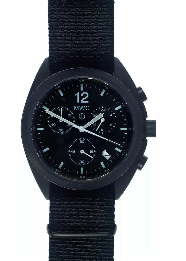 MWC Mechanical/Quartz Hybrid NATO Pattern Military Pilots Chronograph in Non Reflective Black PVD Finish - - Ex Display Watch From the Singapore Air Show at Changi Exhibition Centre