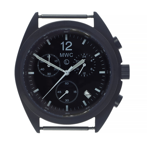 MWC Mechanical/Quartz Hybrid NATO Pattern Military Pilots Chronograph in Non Reflective Black PVD Finish