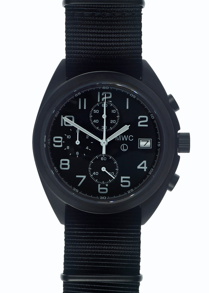MWC Mechanical/Quartz Hybrid NATO Pattern Military Pilots Chronograph in Non Reflective Black PVD Finish with Sapphire Crystal