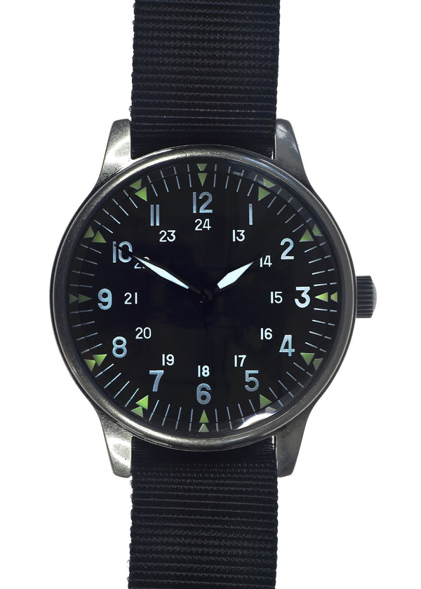 Classic American Pattern Military Watch in Retro Pattern Casing on U.S Pattern Black Nylon Webbing Strap - Needs a Battery