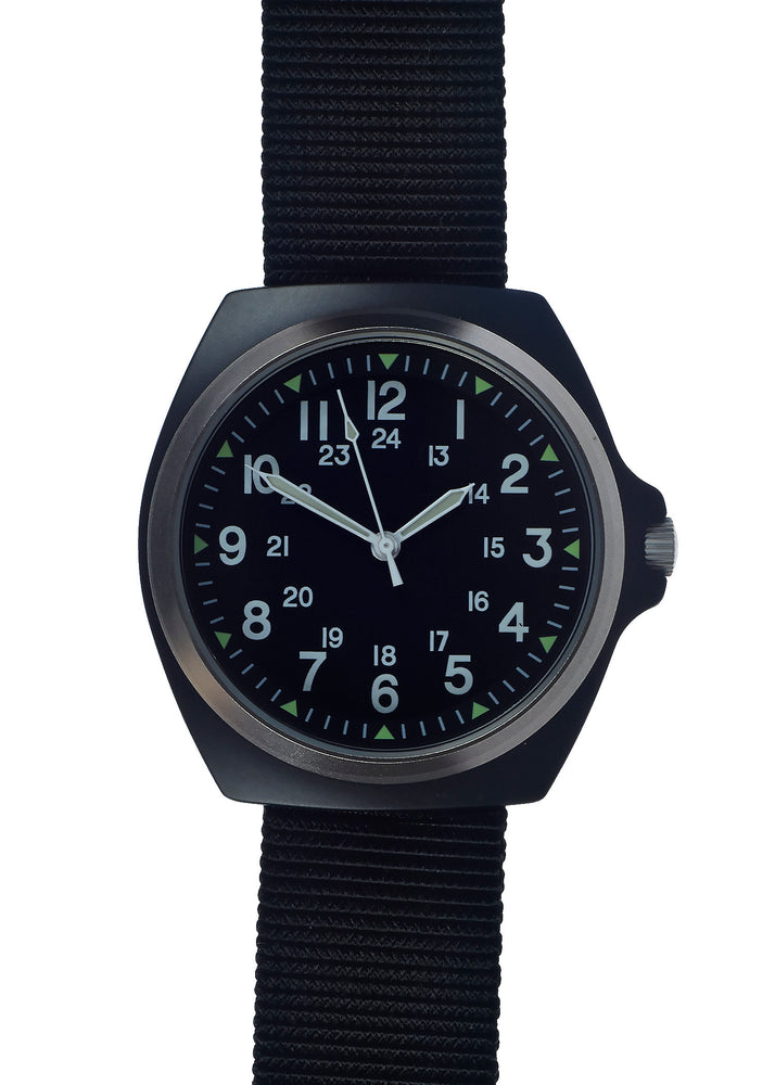 Military Industries Remake of the mid 1980s Pattern MIL-W-46374C U.S Pattern Military Watch in Matt Black - This Watch is Two Years Old and Will Probably Need a Battery Soon